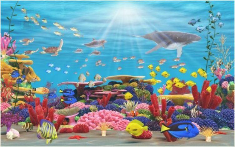 Gigantografia adesiva esclusiva fondo marino dipinto for Disegno paesaggio marino per bambini