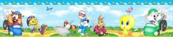 Adesivi Murali Looney Tunes.Bordi Stanze Bimbi Adesivi